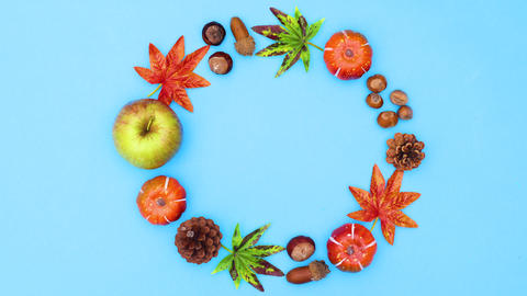 Autumn circle frame and autumn yields move in circle. Stop motion Animation