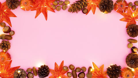 Autumn frame for text appear with lights. Stop motion CG動画