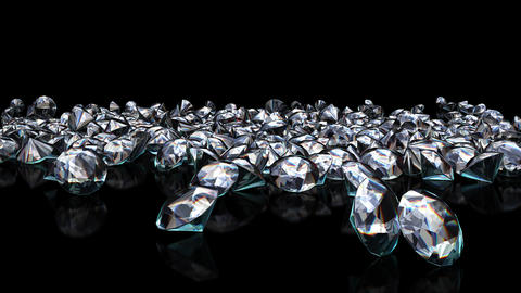 UHD 3D animated slow motion of the shining diamonds falling onto reflecting black surface Animation