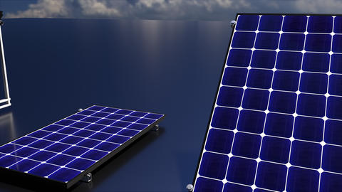 Row of solar batteries on a matte surface against the sky, 3d rendering Acción en vivo