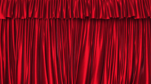 UHD 3D animation of the textured red curtain with alpha matte Animation