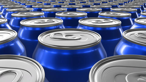 Looping 60 fps 3D animation of the blue aluminum soda cans in UHD Animation