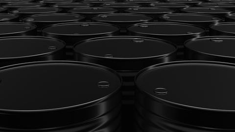 Looping 60 fps 3D animation of the black oil barrels in UHD Animation