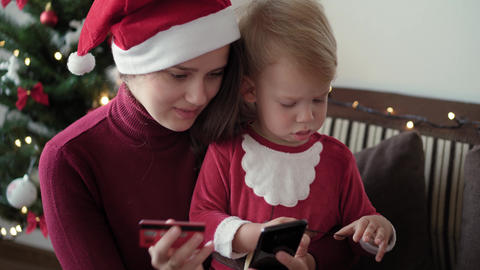 Xmas, winter, new year, Celebration, family concept - happy excited family Live Action