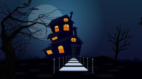 Fairy house with text Happy Halloween Animation