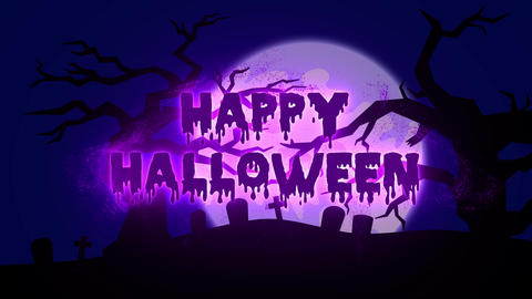 Burning Particle Happy Halloween with Spooky Background - Purple Animation