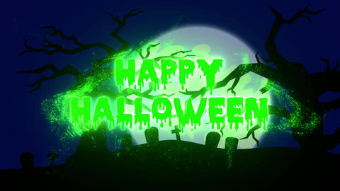 Burning Particle Happy Halloween with Spooky Background - Green Animation