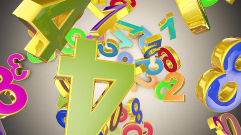 Numerology (secret knowledge of numbers). Gold multi-colored numbers. Mathematical background. 3D Animation