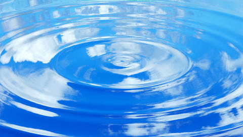 Looping UHD 3D animation of the ripples on a water surface with a blue cloudy sky reflections Animation