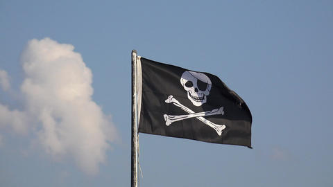 Pirate flag floating in the wind Live Action