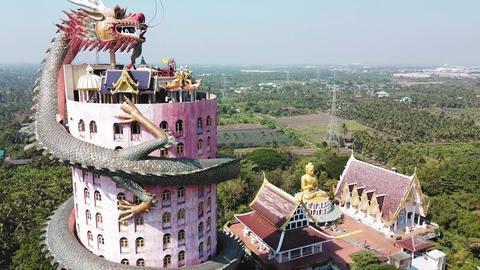 NAKHON PATHOM, THAILAND - DECEMBER 15, 2019: Amazing aerial view of Wat Samphran Live Action