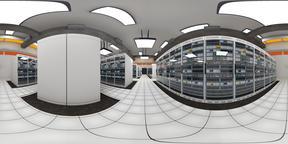 Data Center Server Room Cluster Farm VR360 3D Illustration Fotografía de realidad virtual (RV) en 360°