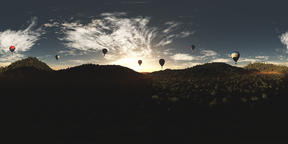 Hot Air Balloons over Lush Jungle in the Sunset VR360 3D Illustration VR 360° Photo