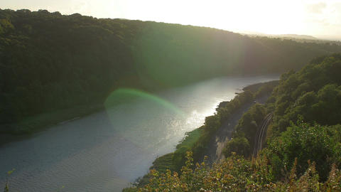 The avon river valley landscape on the river in the afternoon Footage