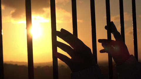 hands behind bars seeking freedom at sunset Footage