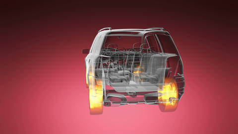 loop car rotate. visible engine and gear transmission. wheels with glow Animation
