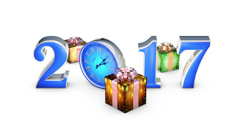 Fall gifts. Happy New Year 2017. Clock, midnight (12 o'clock) Animation