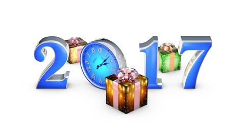 Fall gifts. Happy New Year 2017. Clock, midnight (12 o'clock) Animation