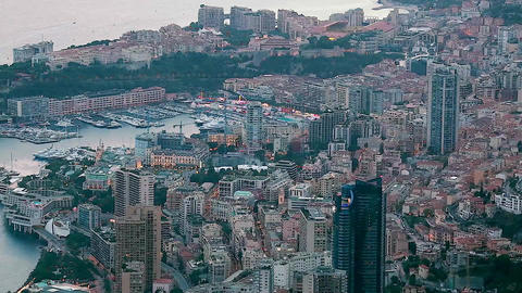 Timelapse Of Aerial View Of Monaco Cityscape Footage