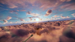 Military drones formation launching missiles, cruising above clouds at sunset Animation