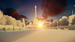 Wonderful view Eiffel Tower in Paris at sunset, chalk look Animation
