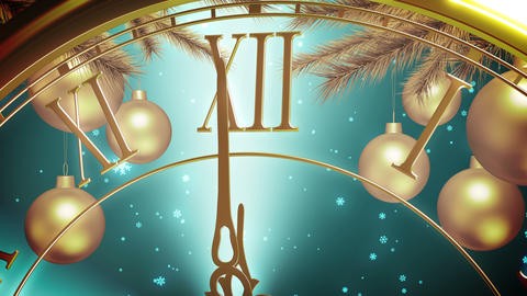 Golden New Year Clock Countdown On Cyan Background. 4K Animation