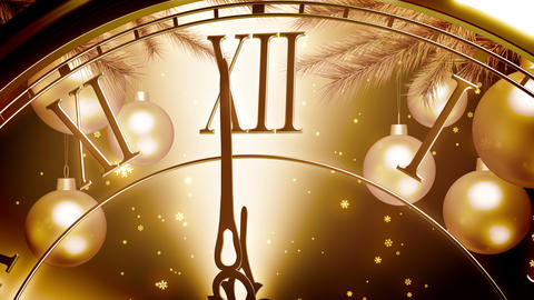Golden New Year Clock Countdown On Gold Background Animation