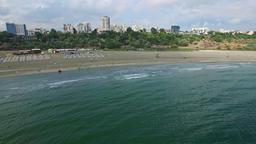 Aerial flight over beach at Black Sea, Romania Footage