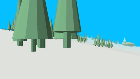Low poly retro style frozen land Animation