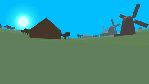 Low poly retro style landscape Stock Video Footage