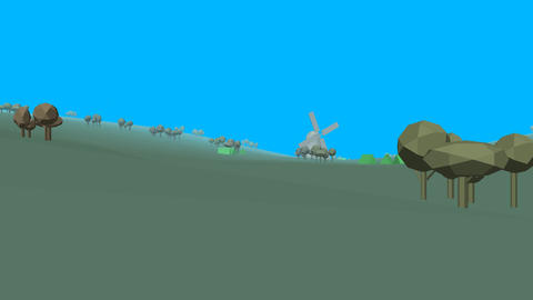 Low poly retro style landscape Animation