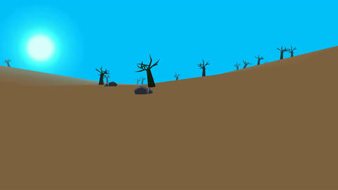 Low poly retro style moorland Animation