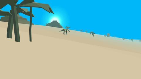 Low poly retro style desert Animation
