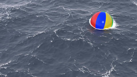 Ocean with beach ball 3D animation Animation