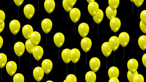 Party yellow balloons generated seamless loop video with alpha matte Animation