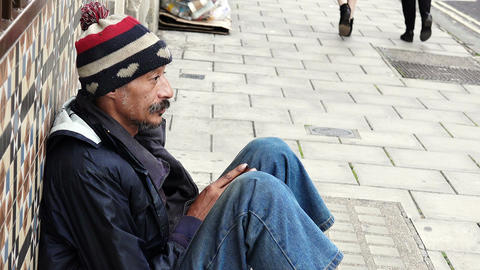 Homeless. Unemployed beggars living on the street Footage