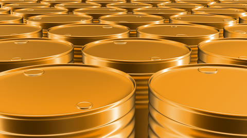 Looping 3D animation of the yellow oil barrels in UHD Animation