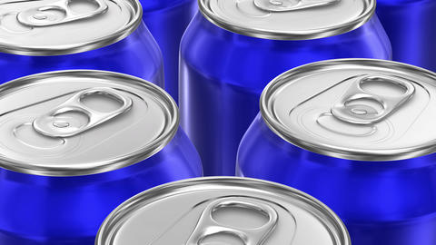 UHD looping 3D animation of the blue aluminum soda cans CG動画
