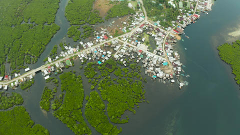Aerial view The town is in mangroves. Siargao,Philippines Live Action