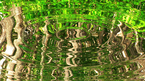 Looping UHD 3D animation of the ripples on a water surface with a green forest reflections Animation