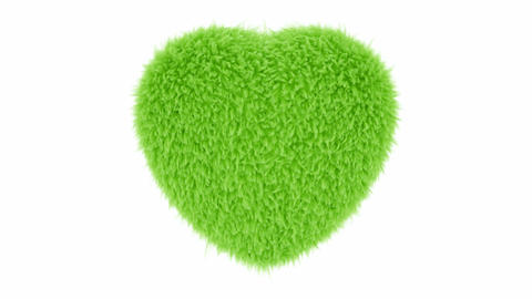 UHD 3D looping animation of the beating fluffy green heart with alpha matte CG動画