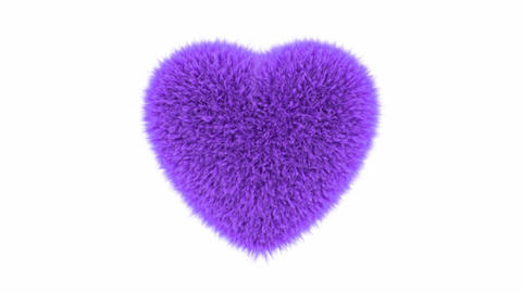 UHD 3D looping animation of the fluffy purple heart with alpha matte 애니메이션