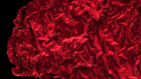 UHD 3D animated opener or transition of the red glossy cloth revealing a background CG動画
