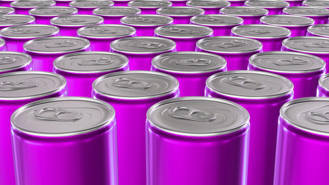 Looping 60 fps 3D animation of the pink aluminum soda cans in UHD Animation