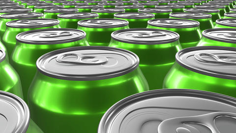 Looping 60 fps 3D animation of the green aluminum soda cans in UHD Animation