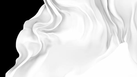 UHD 3D animated transition of the milky white waving cloth flies away revealing the background CG動画