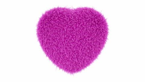 UHD 3D looping animation of the beating fluffy pink heart with alpha matte CG動画