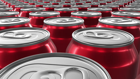 Looping 3D animation of the red aluminum soda cans in UHD CG動画