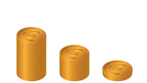 Golden Euro coins stacks CG動画