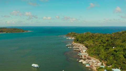 City and port on Balabac Island, Palawan, Philippines Live Action